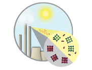 Illustration showing sun and diagram of process occuring at top of chimney.