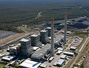 Aerial photograph of a coal-fired power station.