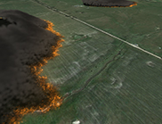 Visualisation of a bushfire spread simulation using the SPARK software developed using the Workspace workflow engine.