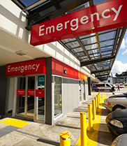 Front entrance of an emergency department.