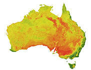Australia-wide image of pH at 100-200 cm average depth. Deepest red colour indicates higher pH (about 8.5) and deepest green lower pH (about 4).