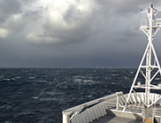 A view from the back of the RV Investigator, looking at the stormy ocean.