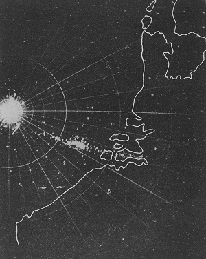 Radar photograph of the mass of troop-carrying aircraft gliders leaving England and approaching the Continent on the famous Arnhem raid (Operation Market Garden)