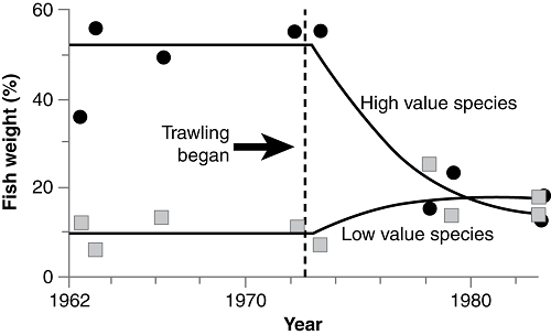 Graph showing change in species composition