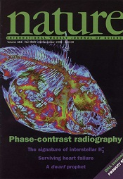The cover of the 28 November 1996 issue of the prestigious international journal _Nature_
