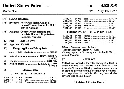 Front page U.S. Patent Number 4