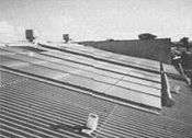 Roof mounted collectors at Australia's first industrial solar heating system at Queanbeyan