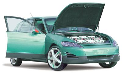 The aXcessAustralia hybrid car exposing the advanced lead-acid batteries