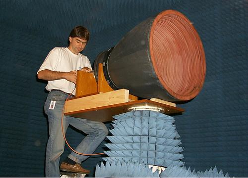 Lightweight bowl-shaped horn under test at CSIRO