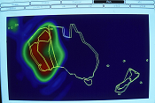 The Western Australia beam for AUSSAT displayed on a computer screen in 1989