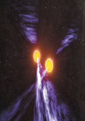 An artist's impression of the Double Pulsar system
