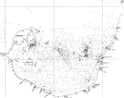 Map showing the density of trawling runs undertaken