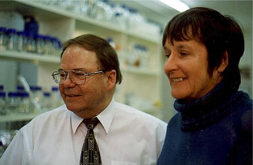 Jim Peacock and Liz Dennis in the CSIRO Plant Industry laboratories