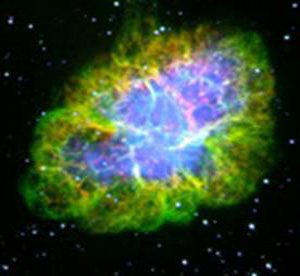 An optical photograph of the Crab Nebula