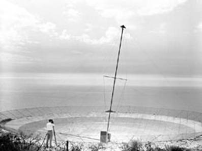 Gordon Stanley is seen using a theodolite to pin-point the position of the antenna mast
