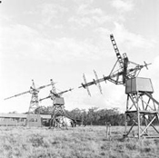 The three unique rhombic antennas at Dapto were designed to track the sun across the sky