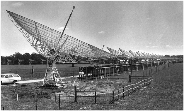 A view along the array of the Fleurs Synthesis Telescope