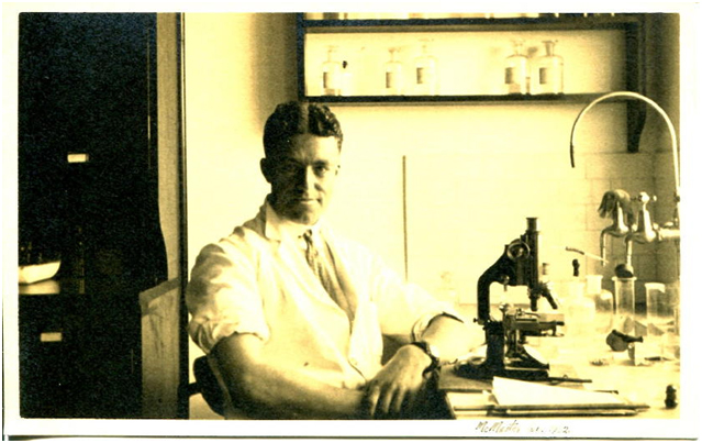 Hugh Gordon at the bench in the Laboratory.
