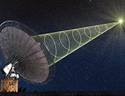 Radio telescope with graphic of spiralling radio wave entering the dish.