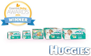 Five boxes of nappies with the Essential Baby 2014 Award winner logo