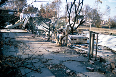 Aftermath of Canberra bushfires in the suburb of Duffy, ACT. 2003.