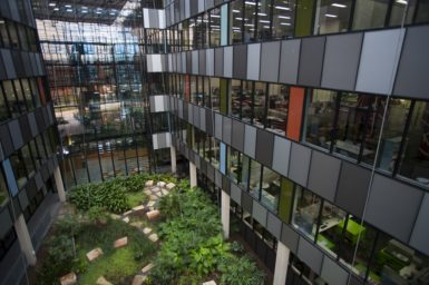 Atrium of the EcoSciences Precinct building in Brisbane