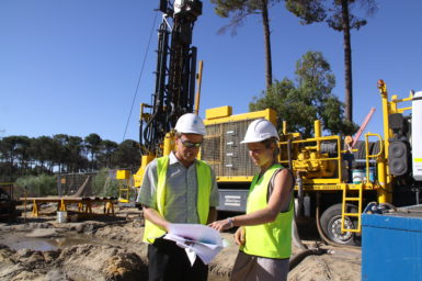 Professor Klaus Regenauer-Lieb and Jacqui Cook at the Geothermal Project worksite.