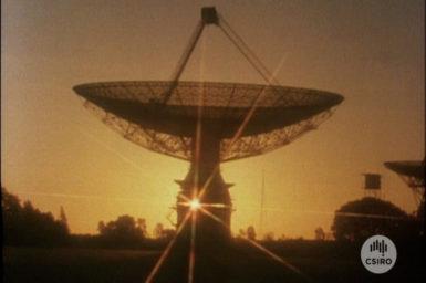 Parkes Radio Telescope at sunset.