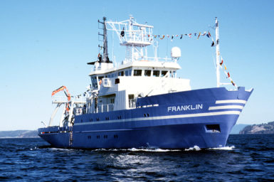 CSIRO research vessel Franklin cruising up the Derwent, Hobart, Tasmania.