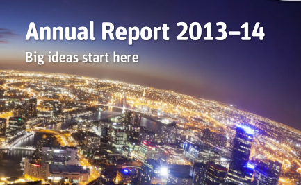 annual report cover with cityscape at night