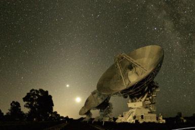australia telescope compact array at night