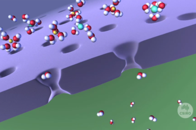 Graphic of polymer membrane being used for desalination.