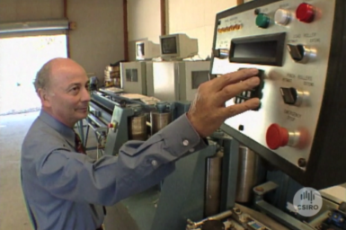 Dr Robert Leicester testing wood samples