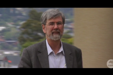 Dr John Church outside Marine Labs, Hobart.