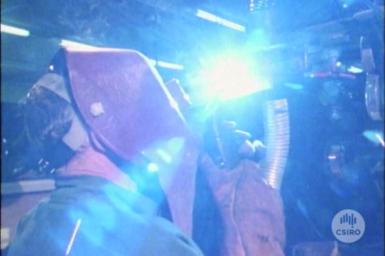 Syncropulse welder in operation.