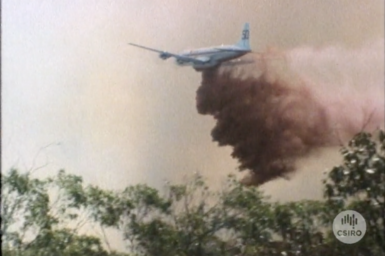 Aircraft dropping fire retardant on test fire.