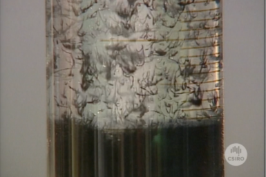 Flocculation process at work in a beaker.