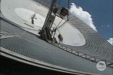 Close up view of dish at Parkes Radio Telescope.