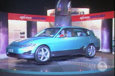 Axcess Australia Low Emission concept car on display.