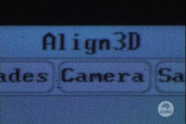 Close up view of computer running Align3D software.