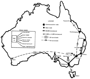 Map of Csironet links and nodes, linking Canberra, all state capitals and 5 regional cities