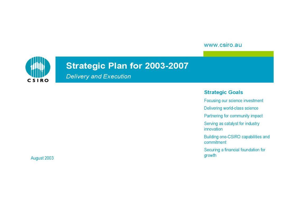 Cover for CSIRO Strategic Plan for 2003-2007